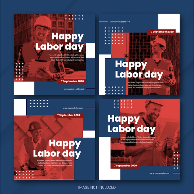 Usa labor day instagram postbundelsjabloon premium psd