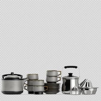Utensilios isométricos de cocina render 3d