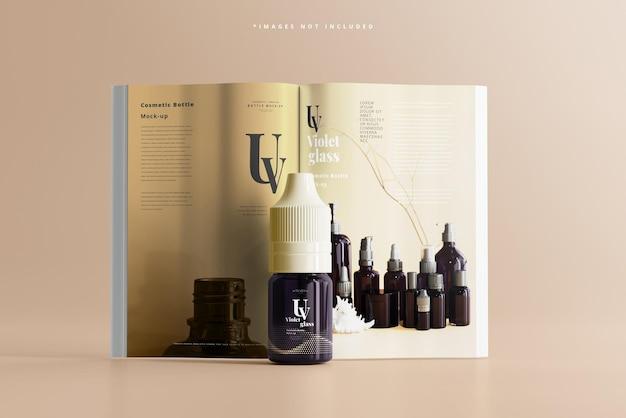 Uv-glazen eenhoorn-druppelfles met tijdschriftmodel