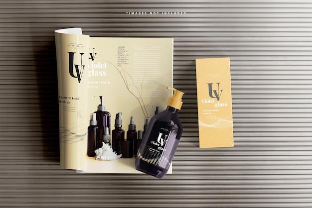 Uv-glazen pompfles met tijdschriftmodel