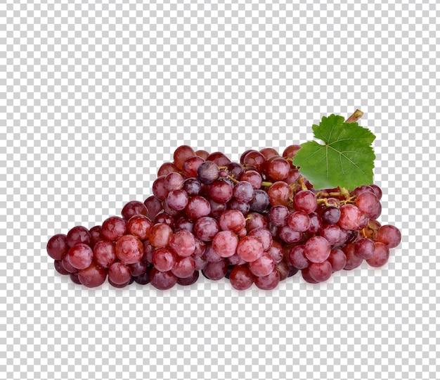 Uva roja fresca con hojas aisladas psd premium