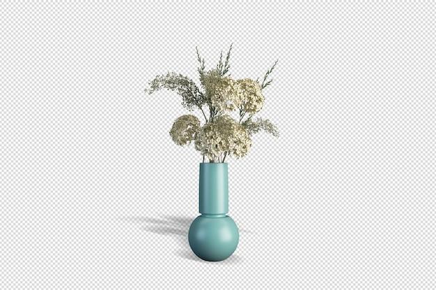 Vaas met bloemen in 3d-rendering