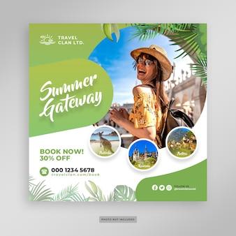 Vacaciones de verano vacaciones post banner plantilla