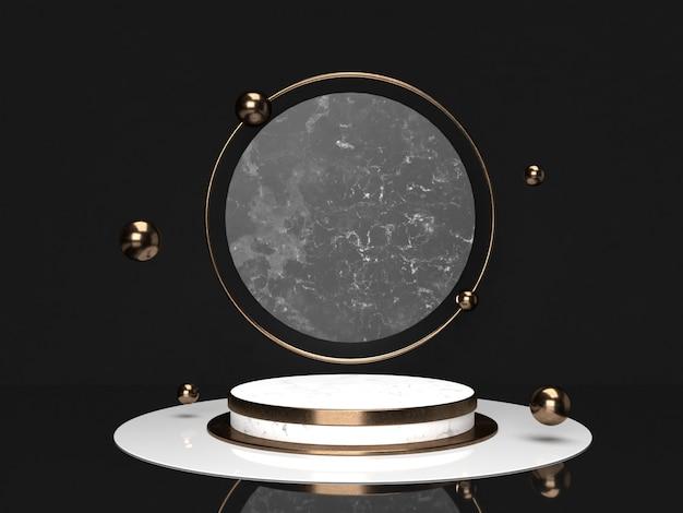Vacío podio mármol negro, blanco y cobre sobre fondo de color oscuro representación 3d