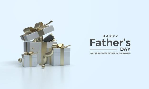 Vaderdag 3d render met drie geschenkdozen en een gouden snor