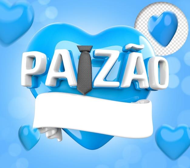 Vaderdag 3d tekst met stropdas en blauwe harten