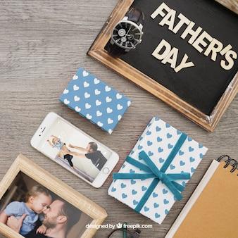 Vaderdag samenstelling met bord en bord
