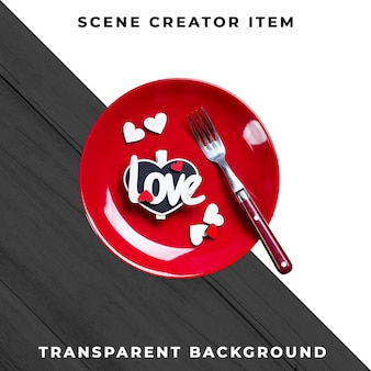 Vajilla de plato y cubiertos con texto amor, aislado con trazado de recorte.