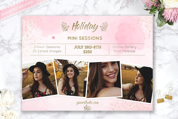 Vakantie mini session photography template