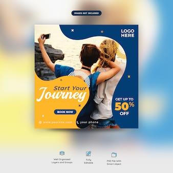 Vakantie samen reizen sociale media post sjabloon premium
