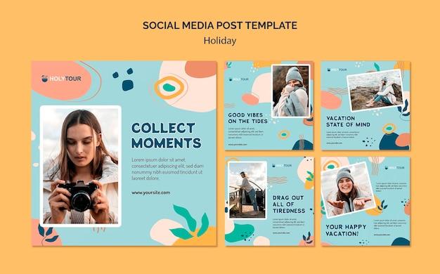 Vakantie sociale media post-sjabloon