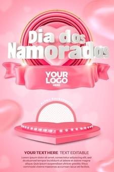 Valentijnsdag 3d-label met sjabloon voor podiumbanner