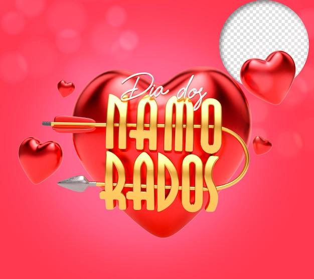 Valentijnsdag 3d-tekst met hart en pijl