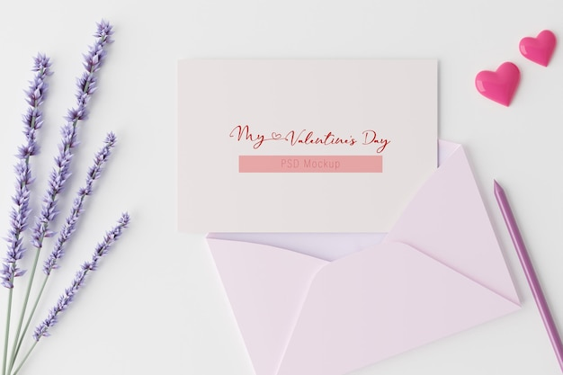 Valentijnsdag achtergrond kaart mockup in 3d-rendering
