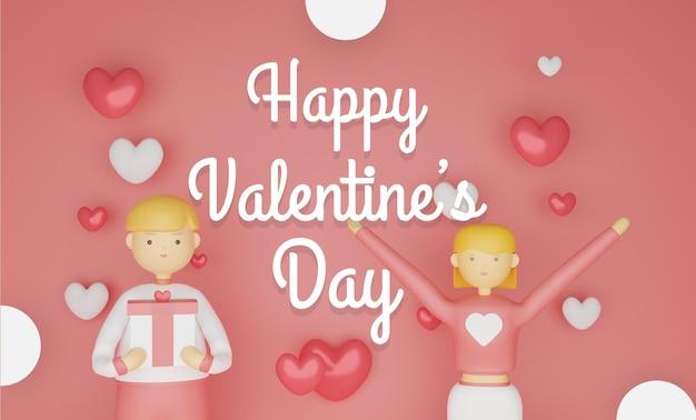 Valentijnsdag achtergrond met karakters