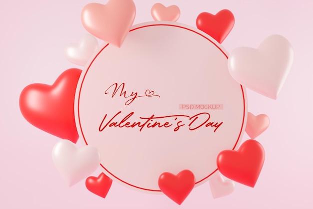 Valentijnsdag achtergrond mockup met hartvormig in 3d-rendering