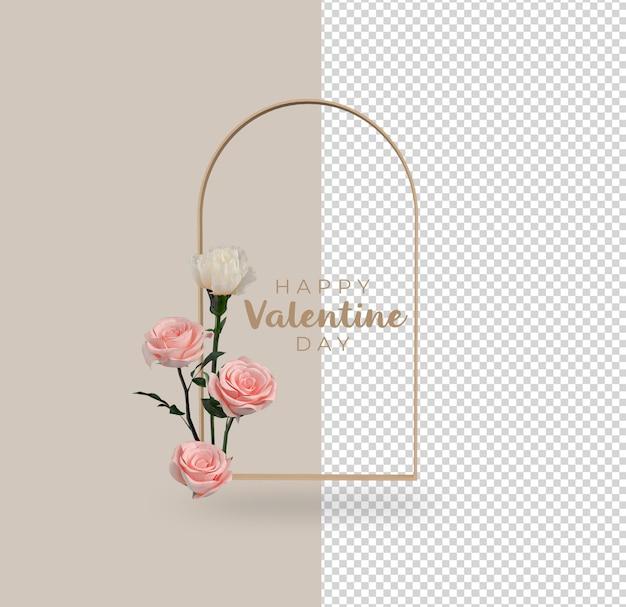 Valentijnsdag bloemen decoratie mockup ontwerp