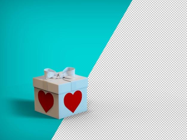 Valentijnsdag concept illustratie met geschenkdoos, aanpasbare kleurrijke mockup