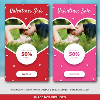 Valentijnsdag concept instagram verhalen sjabloon