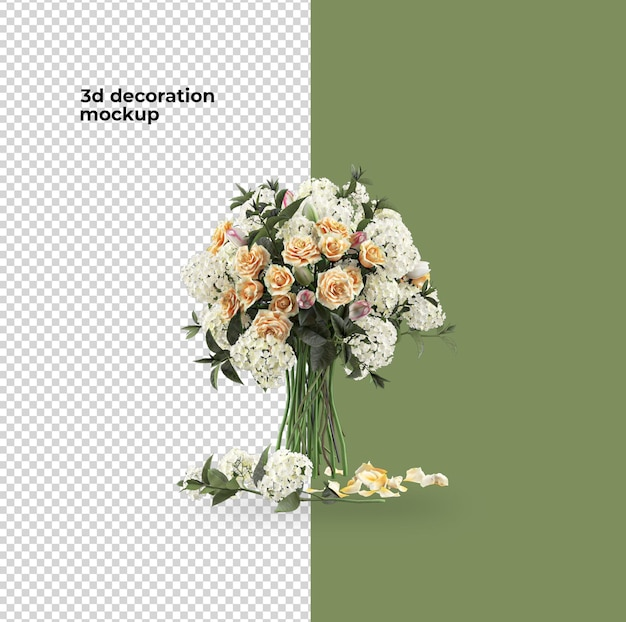Valentijnsdag decoratie bloemen mockup ontwerp