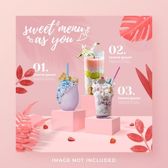Valentijnsdag drankje menu promotie sociale media instagram post-sjabloon voor spandoek