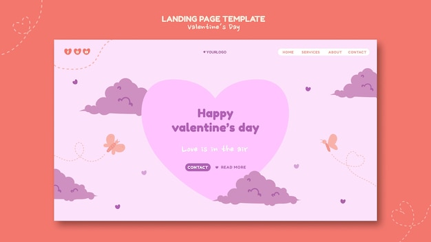 Valentijnsdag geïllustreerde bestemmingspagina