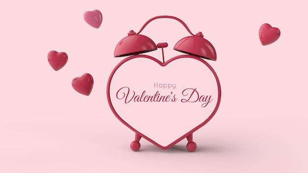 Valentijnsdag . hartvormige wekker en vliegende rode harten. plaats voor tekst. 3d-afbeelding