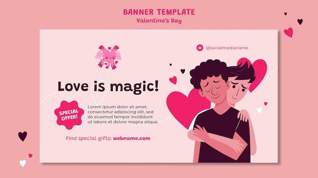 Valentijnsdag horizontale banner geïllustreerd