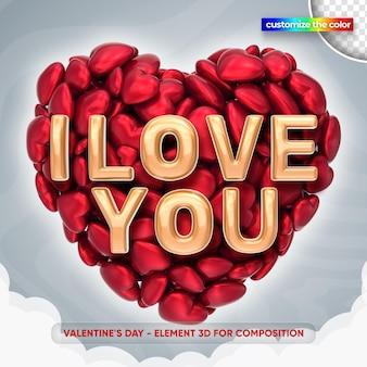 Valentijnsdag illustratie in 3d-rendering