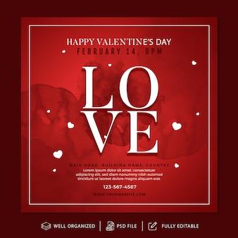Valentijnsdag instagram post en sjabloon voor spandoek