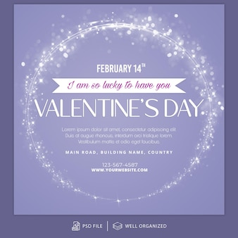 Valentijnsdag instagram post-sjabloon en sjabloon voor spandoek