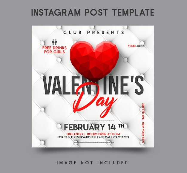 Valentijnsdag instagram post sjabloonontwerp