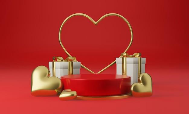 Valentijnsdag interieur met rood platform, harten, standaard, podium, voetstuk voor goederen