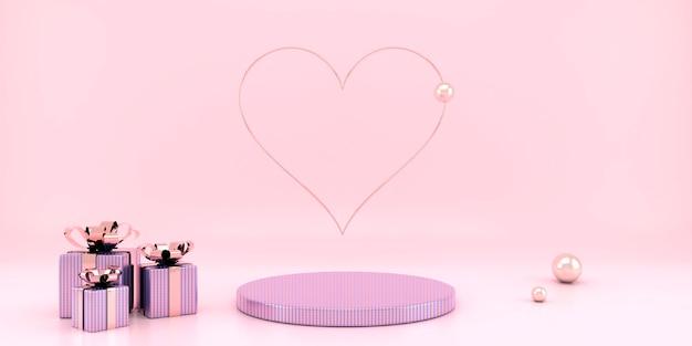 Valentijnsdag interieur met voetstuk en harten in 3d-rendering