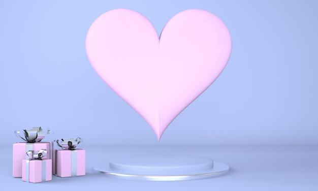 Valentijnsdag interieur met voetstuk en harten