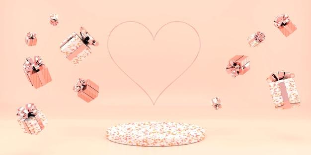 Valentijnsdag interieur met voetstuk, harten.