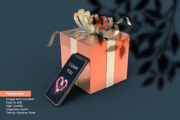 Valentijnsdag liefde 3d-rendering geschenkdoos met smartphone mockup
