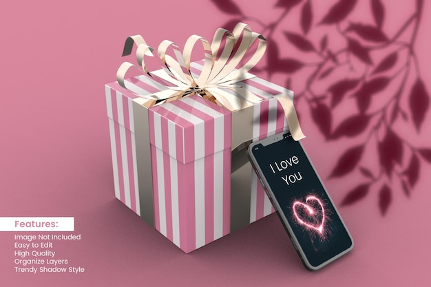 Valentijnsdag liefde 3d-rendering geschenkdoos mockup-ontwerp met smartphone