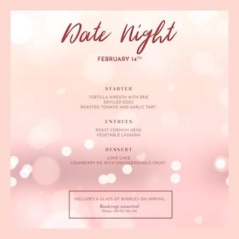 Valentijnsdag menu mockup