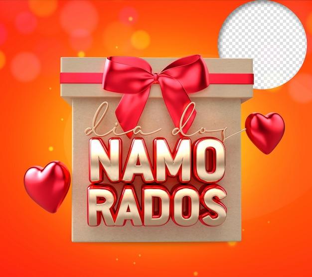 Valentijnsdag met geschenkdoos, rode 3d-tekst met lint en hart.