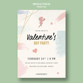 Valentijnsdag partij flyer met engelen