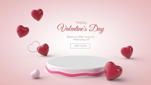Valentijnsdag . podium en rode en witte harten.