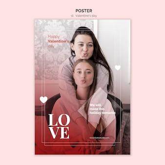 Valentijnsdag poster met vrouwelijke paar