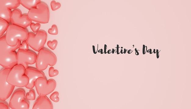 Valentijnsdag rendering met 3d-hartballon
