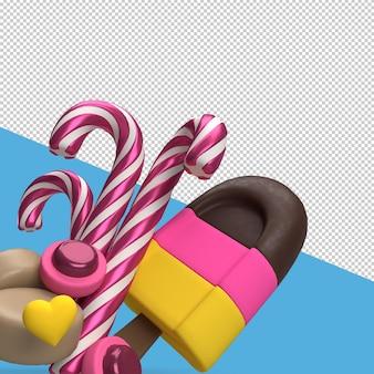 Valentijnsdag rendering met snoepjes