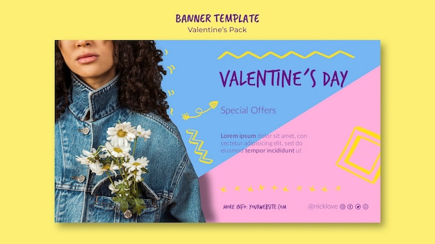 Valentijnsdag sjabloon banner