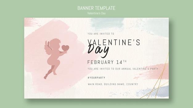 Valentijnsdag sjabloon voor spandoek met engel