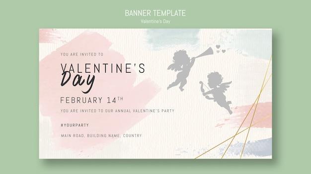 Valentijnsdag sjabloon voor spandoek met zingende engel