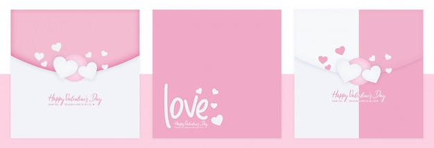 Valentijnsdag social media post set sjabloon Premium Psd