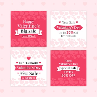 Valentijnsdag verkoop banner set